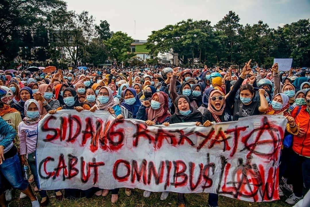 Indonesian women protesting earlier this month
