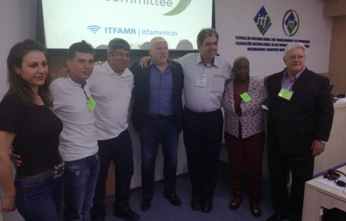 Conference participants, including Pablo Moyano (third from left) and Noel Coard (centre)