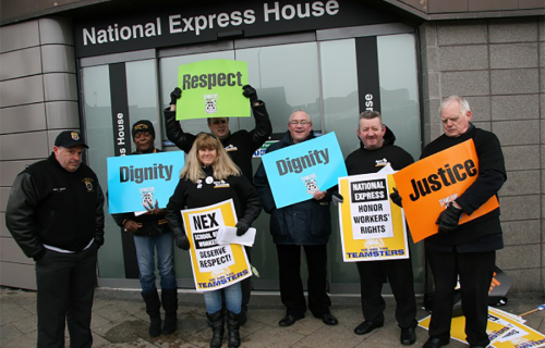 Union protestors outside the National Express AGM in Birmingham, UK