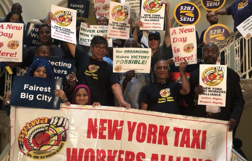 Workers from the New York Taxi Workers' Alliance (NYTWA) built partnerships across the city